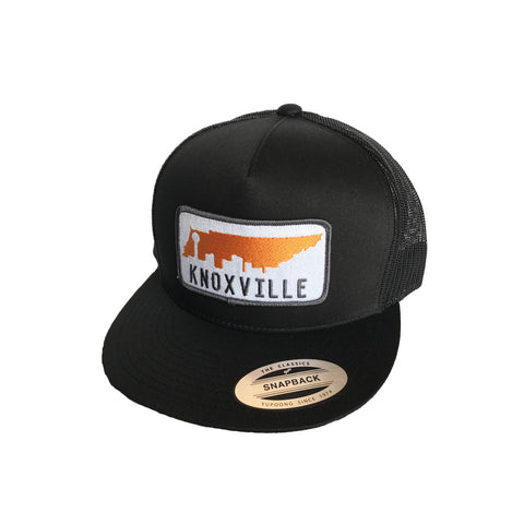 The Knox Skyline Flat Bill Trucker Hat - Black