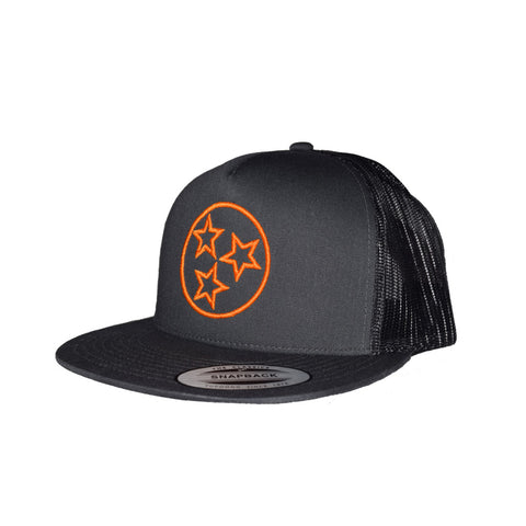 The Tri Star Outline Charcoal Trucker Hat