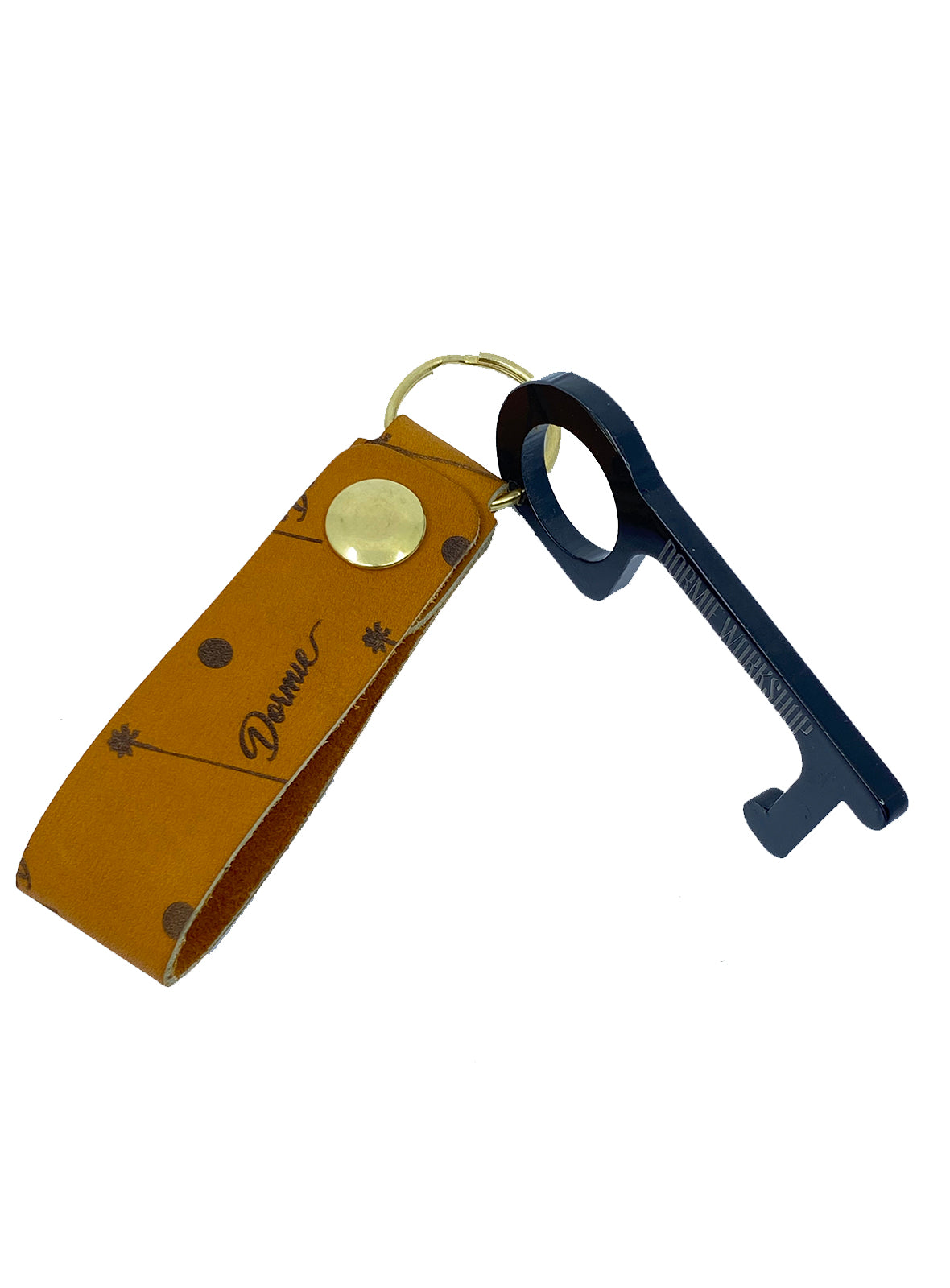 Hygiene Key - Gold Horween leather lanyard with power key