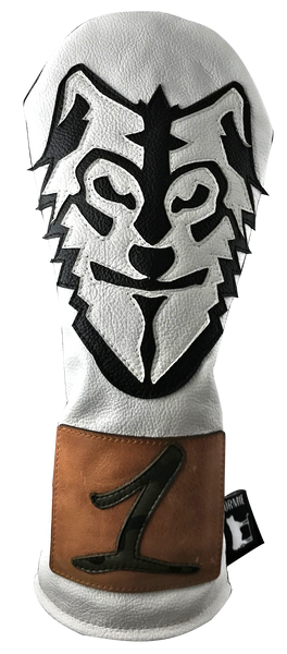 Dormie Workshop Wolf man white Leather Golf Headcover