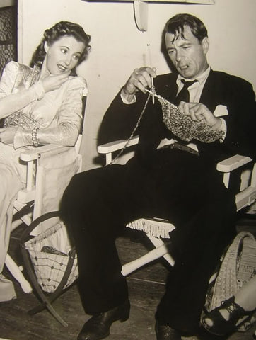 "Barbara Stanwyck and Gary Cooper knitting on set of ""Meet John Doe"""