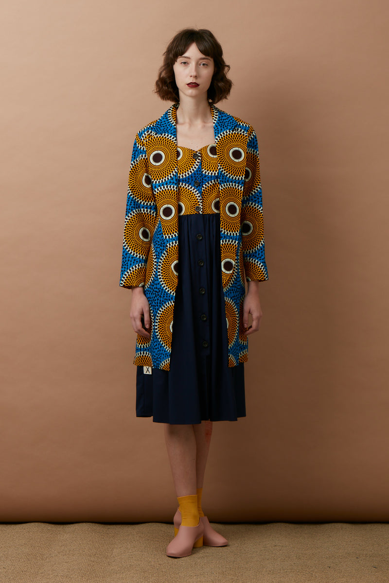 Hand-Printed Trench Coat (Blue-Yellow)
