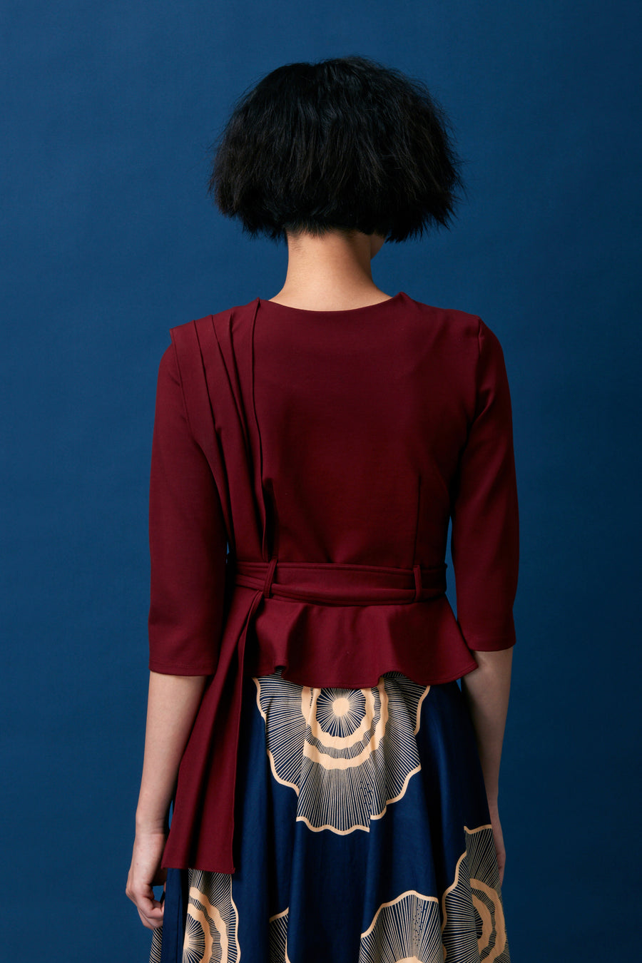 Pleated Shoulder Sash Top (Dark Red)