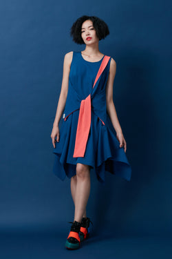 Diagonal Loop Sash Trapezium Dress