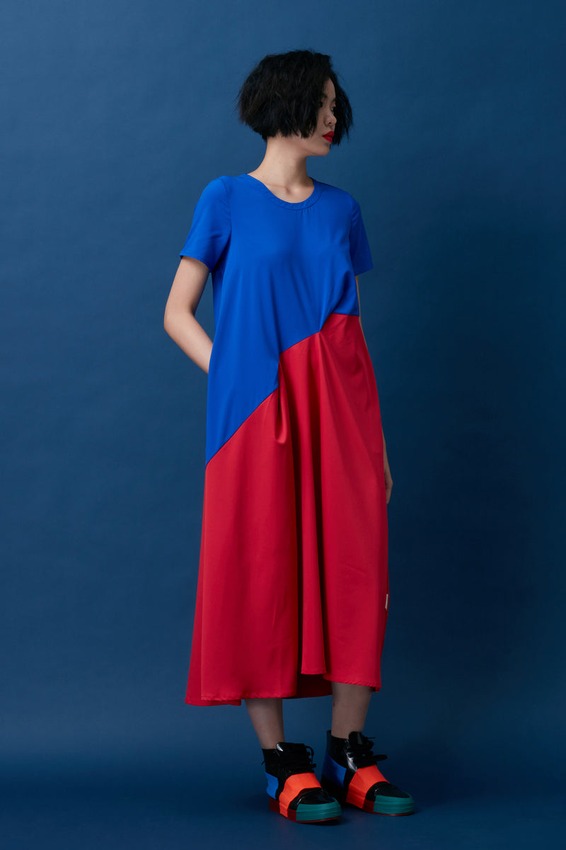 Two-Tone Maxi with Folded Pleat