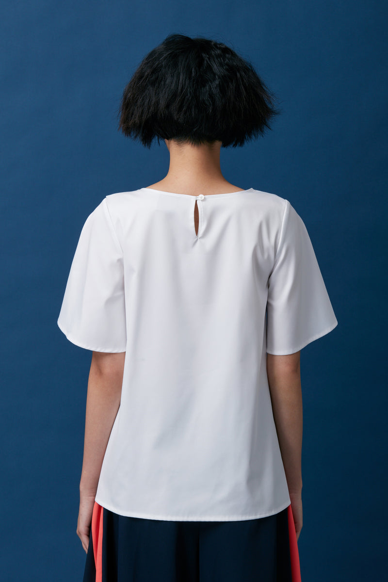 Diagonal Loop Sash Top (White)