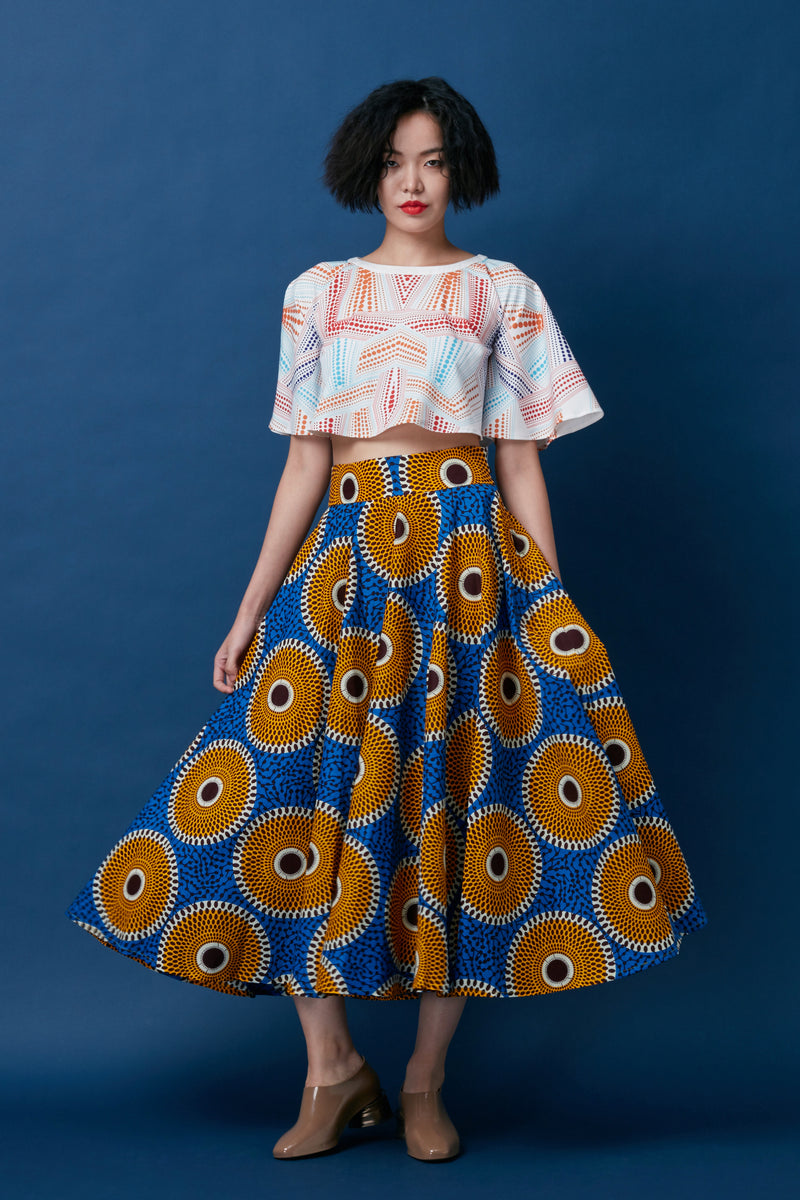 Full Circle Skirt (Blue-Yellow)