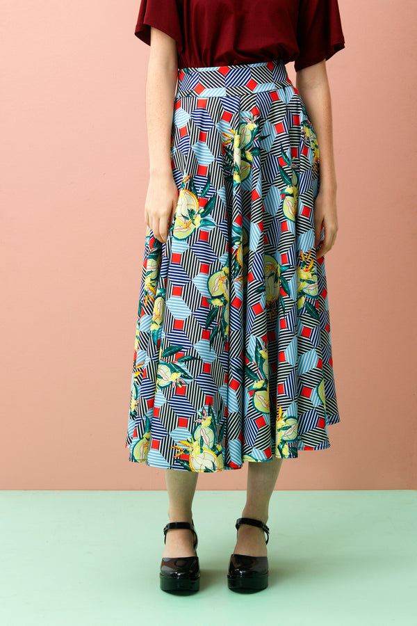 Printed Midi Skirt for Women. Full Circle Skirt in Hei Zhen Zhu print. Retro fashion silhouette. The Durian print series are original RECKLESS ERICKA designs in vibrant colours and strong graphical elements, inspired by iconic Peranakan tiles of shophouses, where many durian stalls in Singapore are found