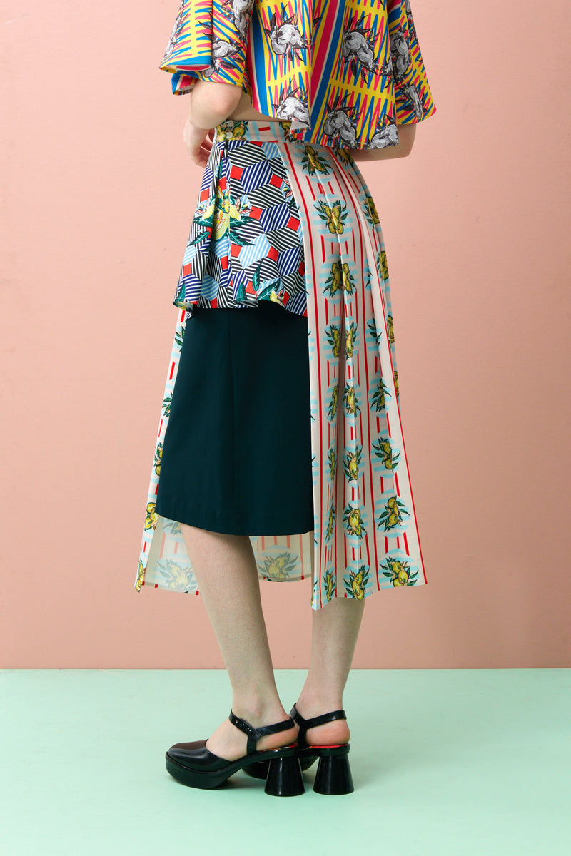 Pleated Layered Peplum Skirt (Multi Print)