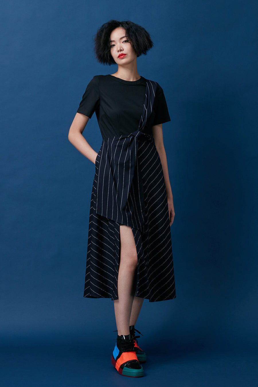 Diagonal Loop Sash Layered Dress