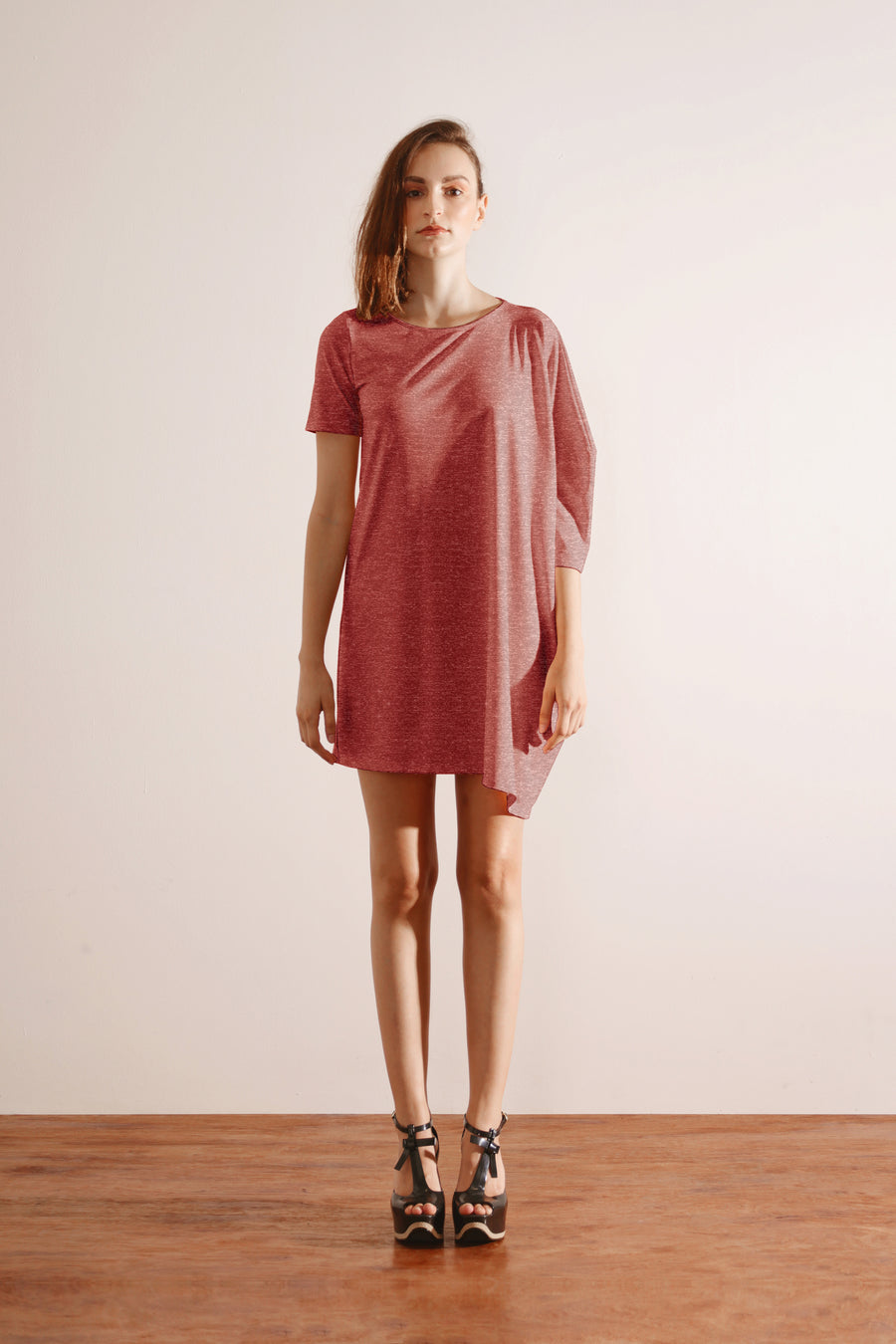Oversized Tee Dress (Coral Red)