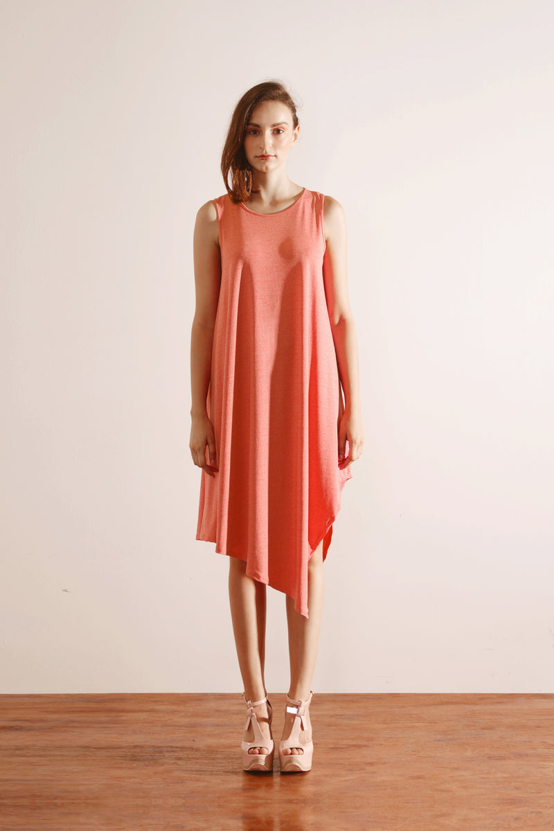 Side Drape Dress (Coral Pink)