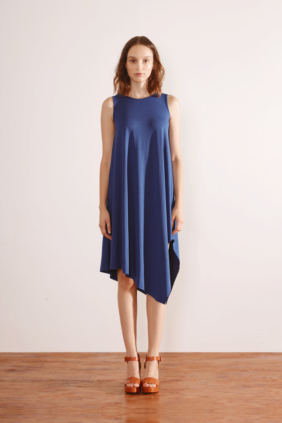 Side Drape Dress (Dark Blue)