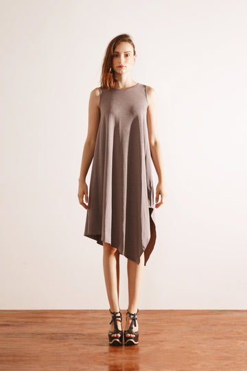 Side Drape Dress (Grey)