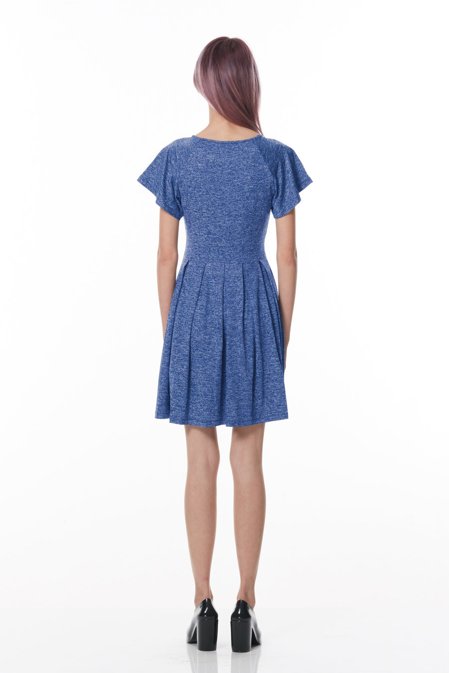 Reverse Box Pleats Dress (Blue)