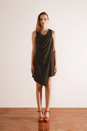 Cowl Neck Faux Wrap Dress