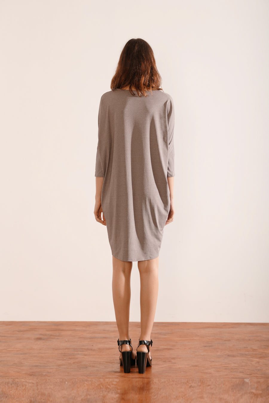 Boxy Shift Dress with Slim Fit Sleeves