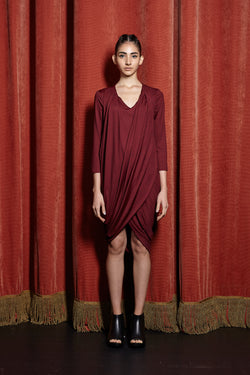 Drape Cocoon Dress with Sleeves