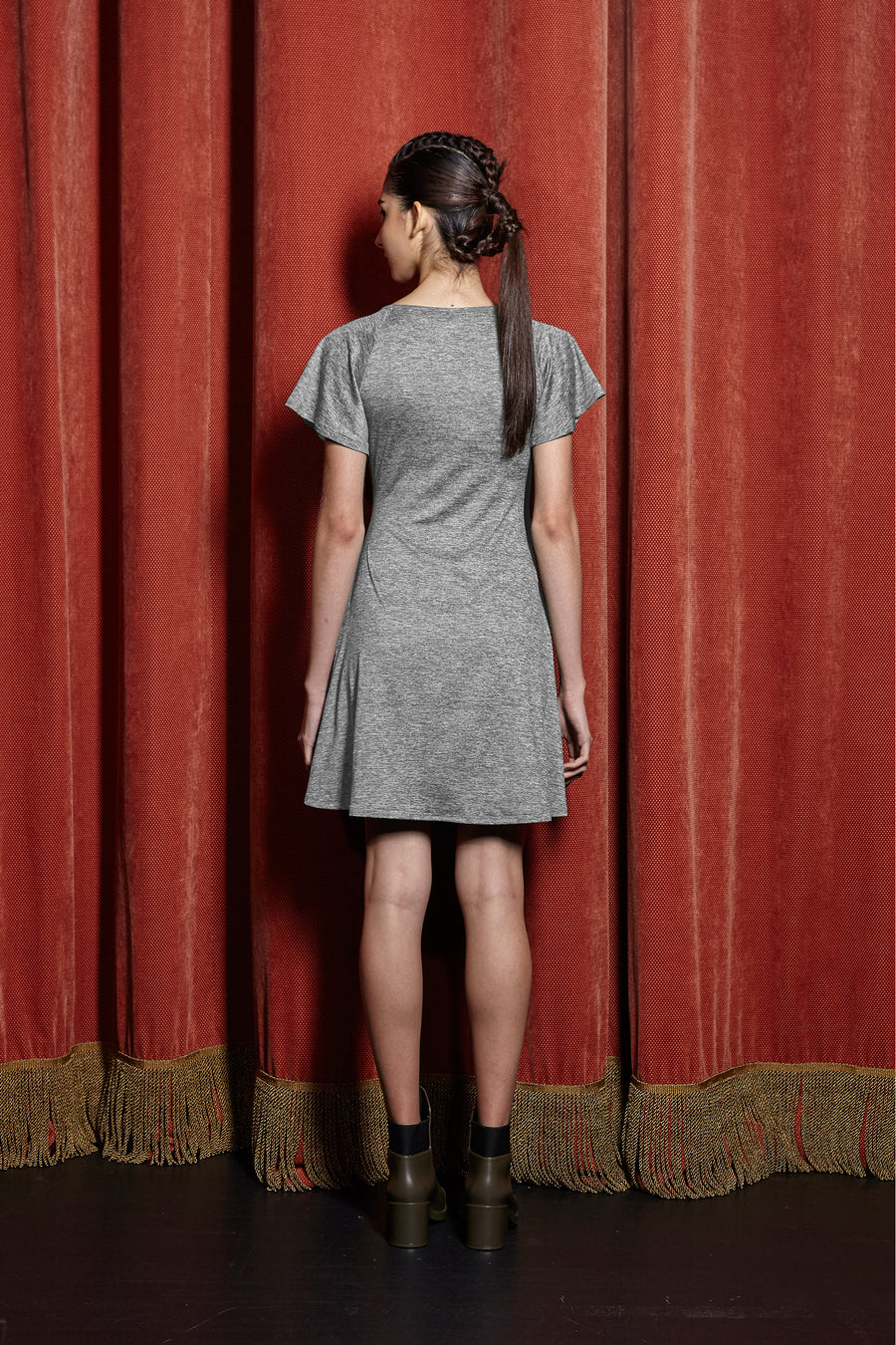 Faux Wrap Dress with Contrast Slot Sash