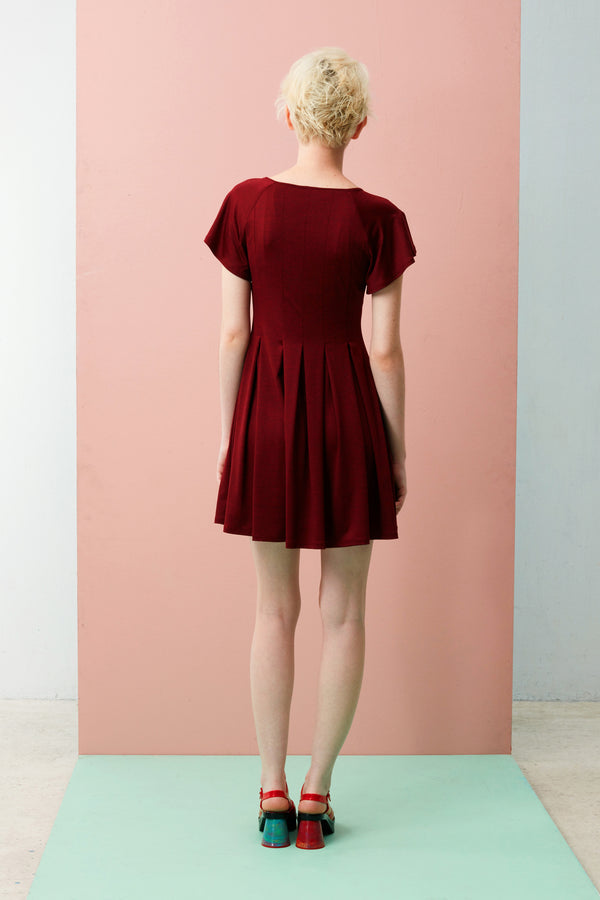 Online Exclusive: Reverse Box Pleats Dress (Dark Red)