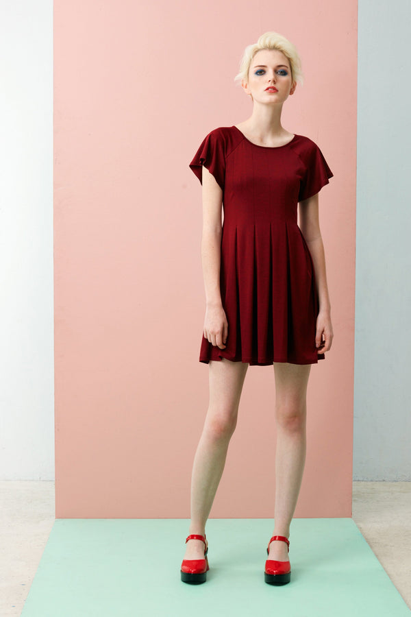Reverse Box Pleats Dress (Dark Red)