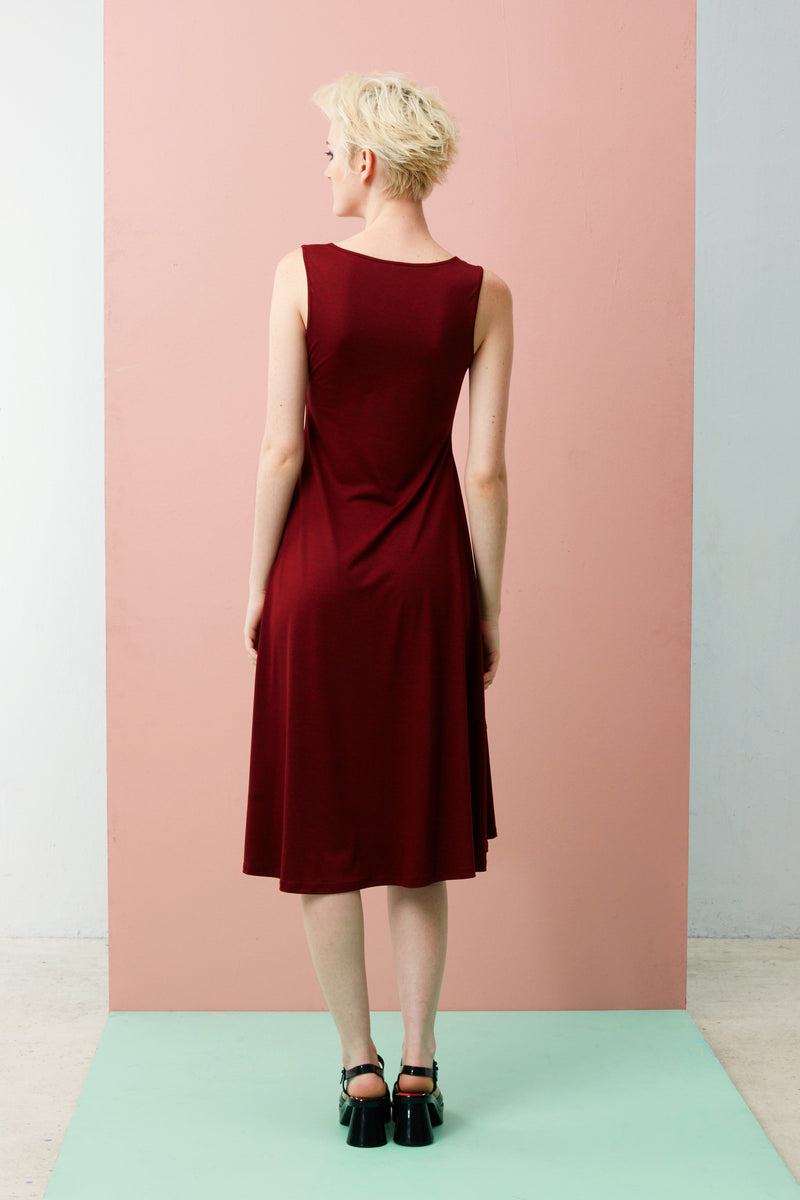 Online Exclusive: Panelled Hem Maxi Dress (Dark Red)