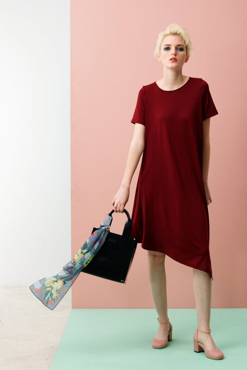 Online Exclusive: Side Drape Dress With Sleeve (Dark Red)