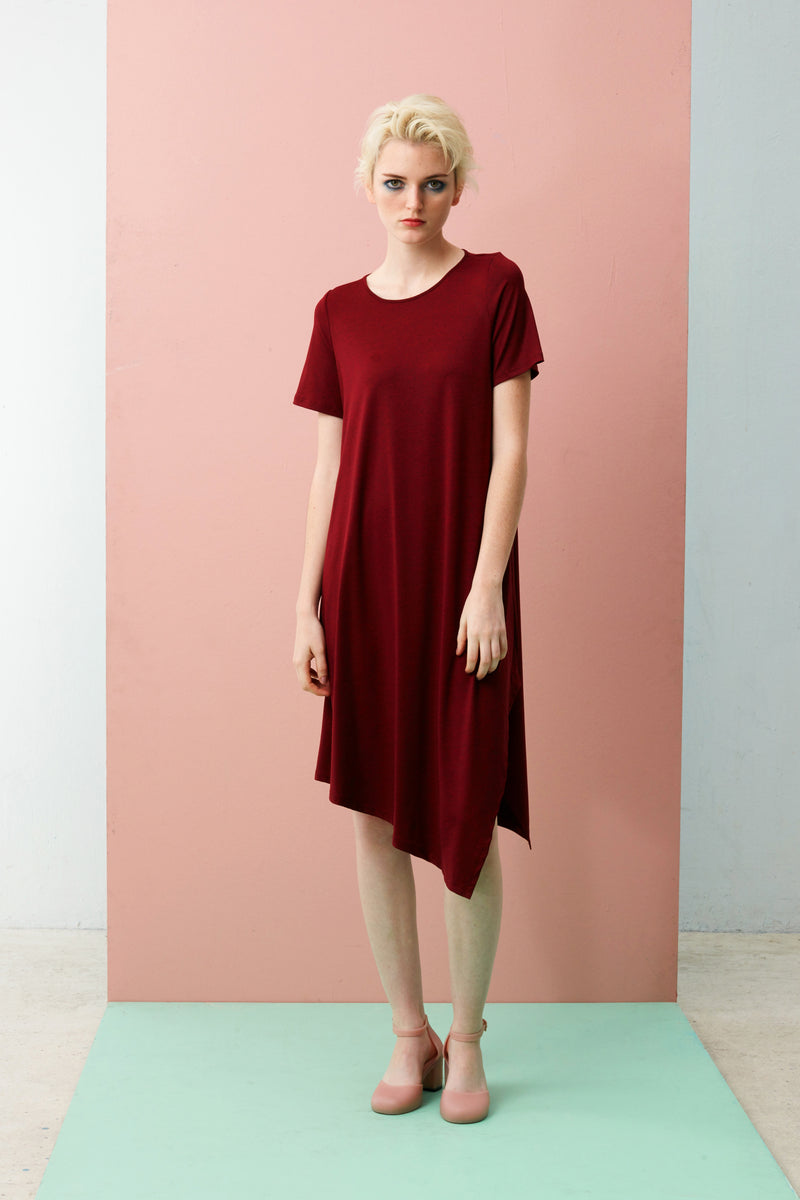 Side Drape Dress With Sleeve (Dark Red)