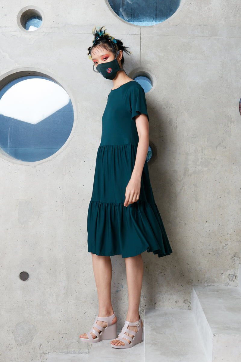 Gathered T-Dress (Dark Green)