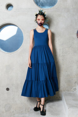 Scoop Back Gathered Maxi (Blue)