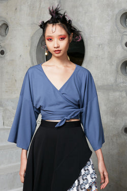Cropped Kimono Wrap Top (Powder Blue) reckless ericka women luxe jersey