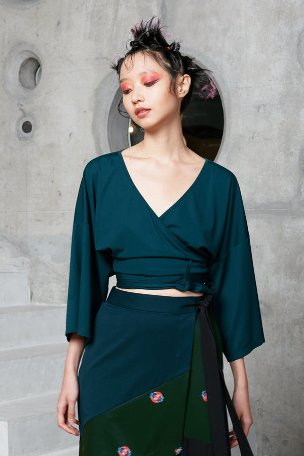 Cropped Kimono Wrap Top (Green) reckless ericka women luxe jersey
