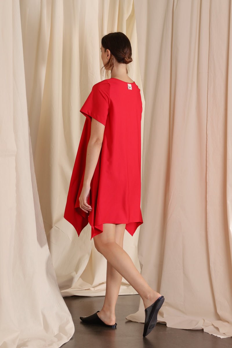 Trapezium Dress (Red)