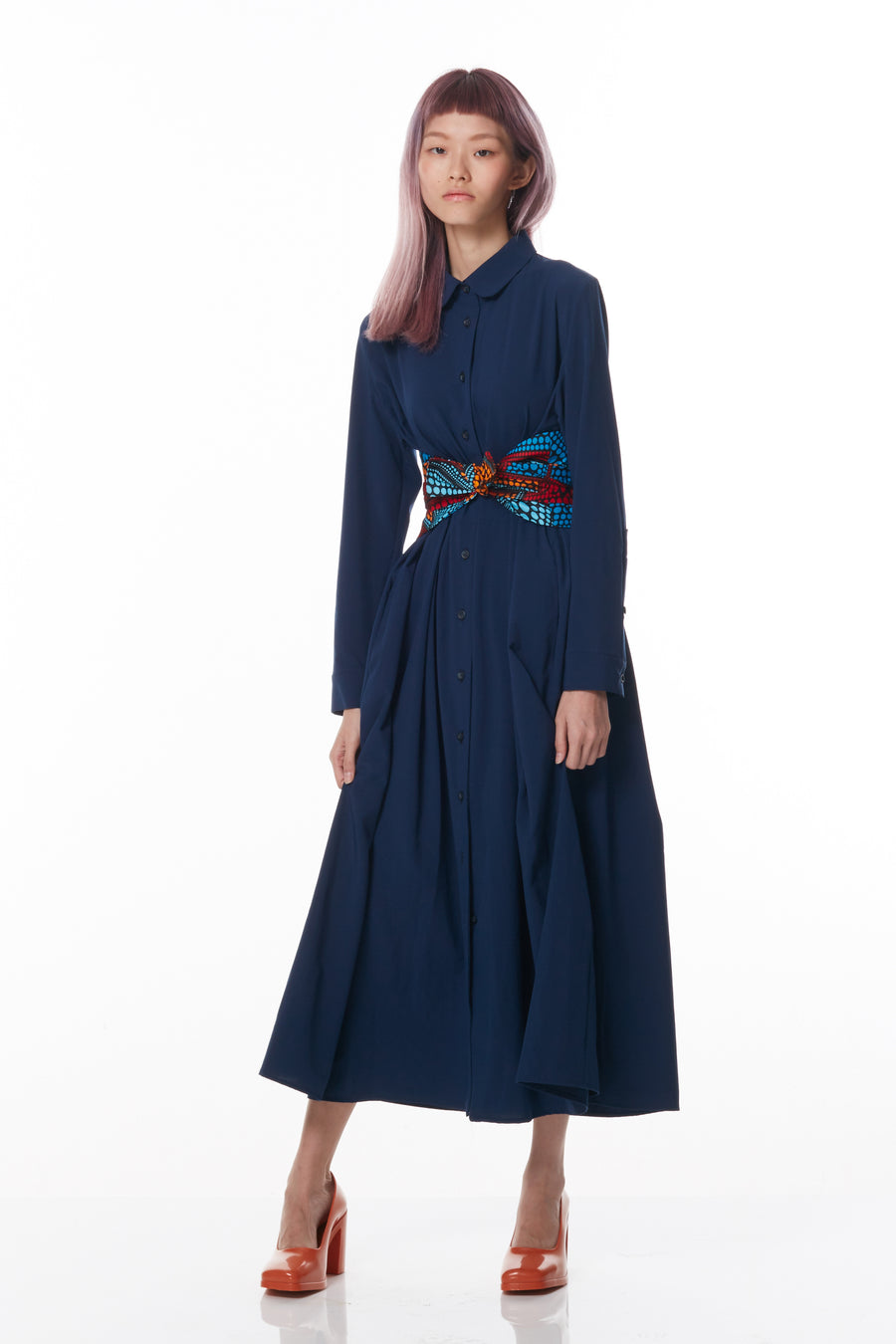 Maxi Dress with Hand-printed Obi Sash