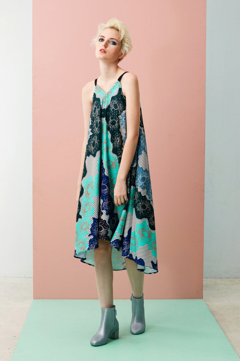 Printed Mullet Dress (Mint Chilli Crab)