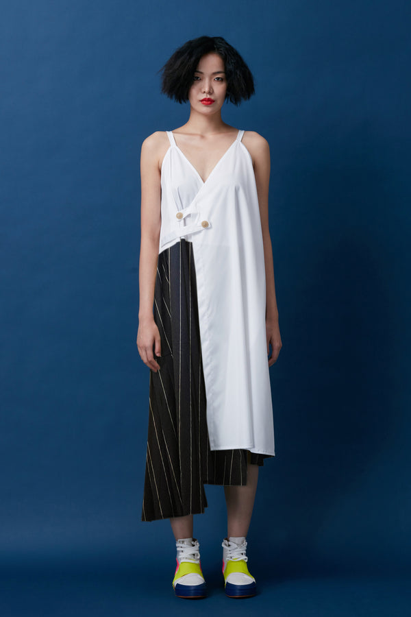 Two-Tone Asymmetrical Layered Pleat Wrap Dress (Stripe)