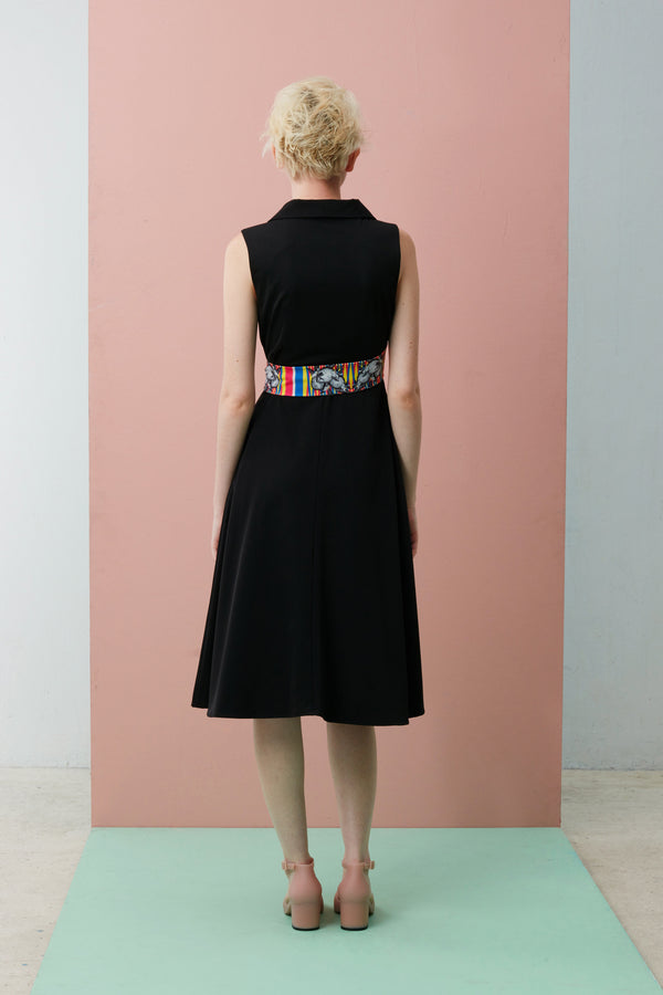 Online Exclusive: Sleeveless Wrap Dress with Slanted Sash (Mao Shan Wang)