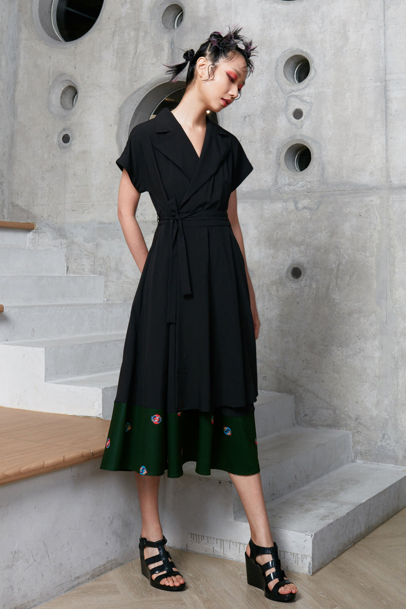 Collared Layered Swing Dress (Masala) black dress women midi dress maxi dress reckless ericka