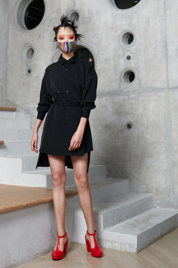 Oversized Multi-cinch Shirt Dress (Black)