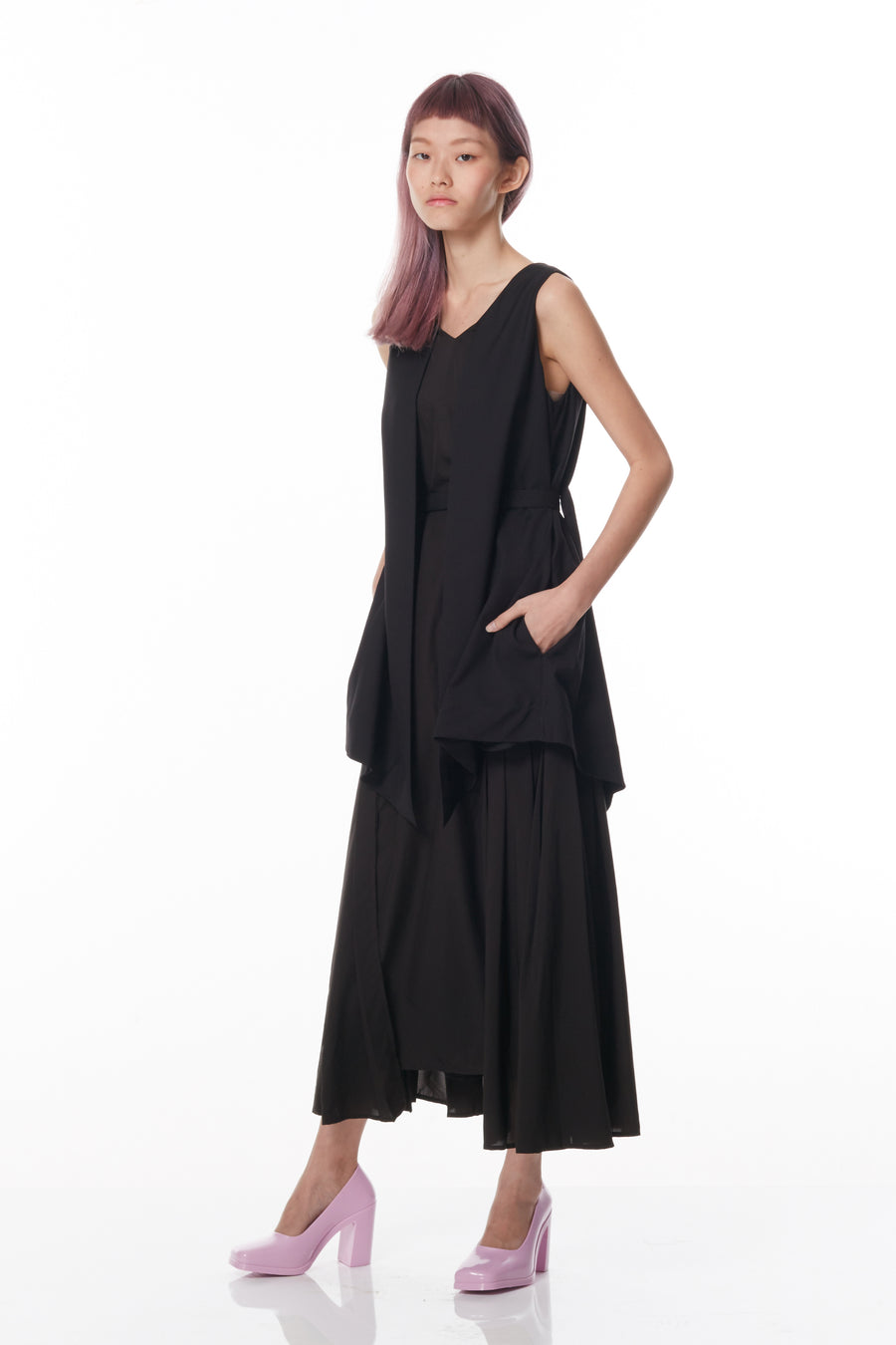 Pleated Double Layered Maxi Dress