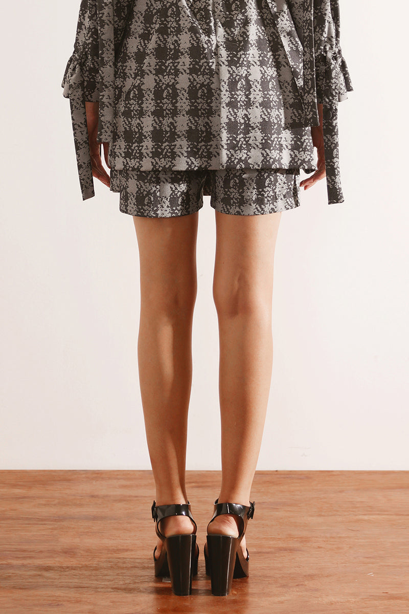 Grey Printed Layered Bermudas