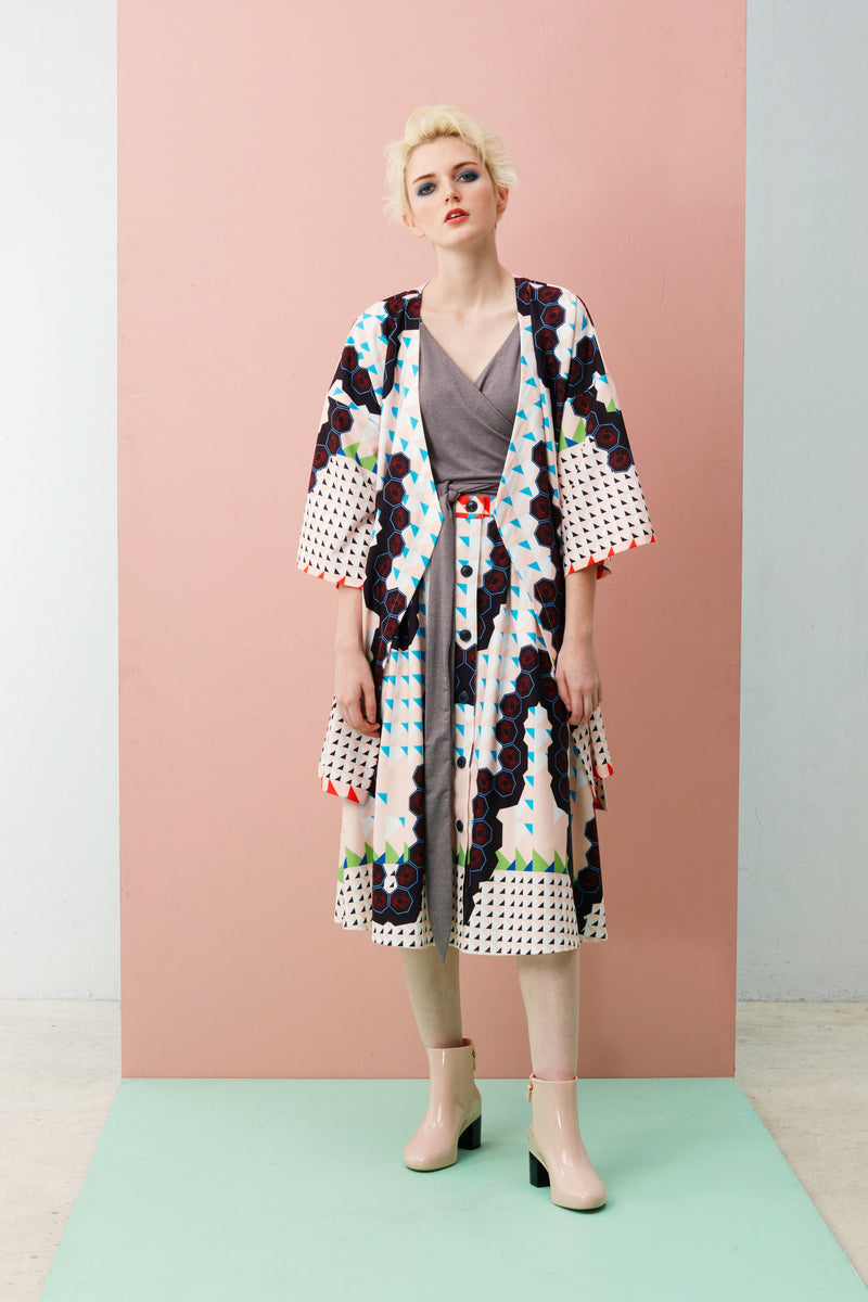 Online Exclusive: Midi Kimono Jacket (Cream Chilli Crab)