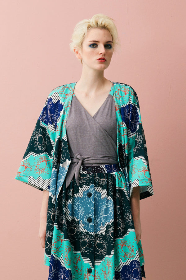 Online Exclusive: Midi Kimono Jacket (Mint Chilli Crab)