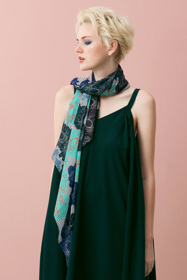Mint Chilli Crab Square Scarf. Gift. Accessories.