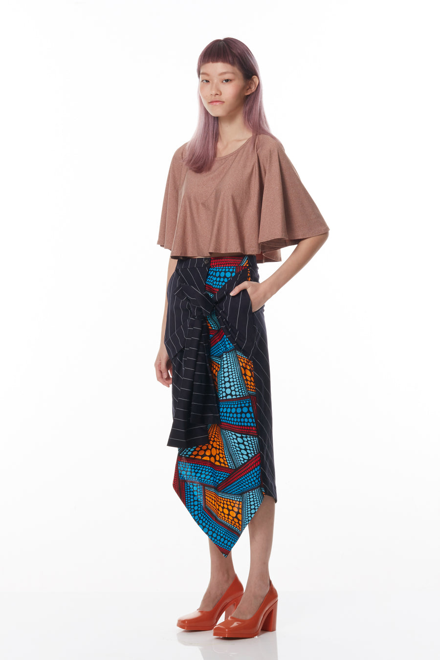 Tie-Front Wrap Pencil Skirt