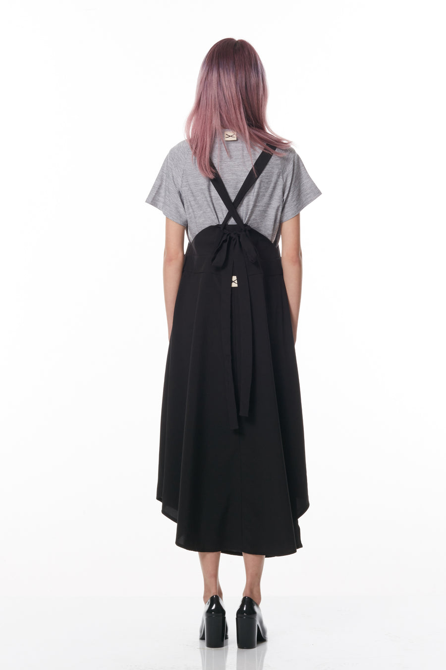 Pleated Double Layered Wrap Pinafore Skirt