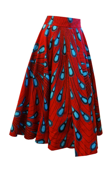 Full Circle Skirt (Red-Cyan)
