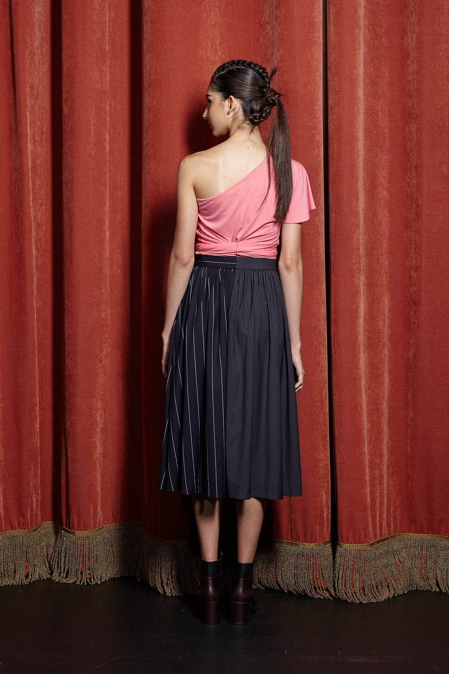 Two-Faced Gathered Waist Midi Skirt