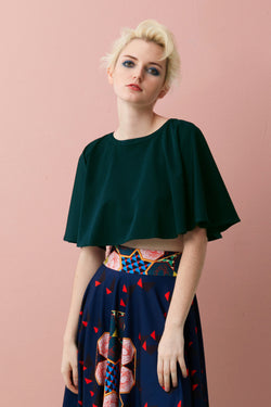 Full Circle Cropped Top (Forest Green)