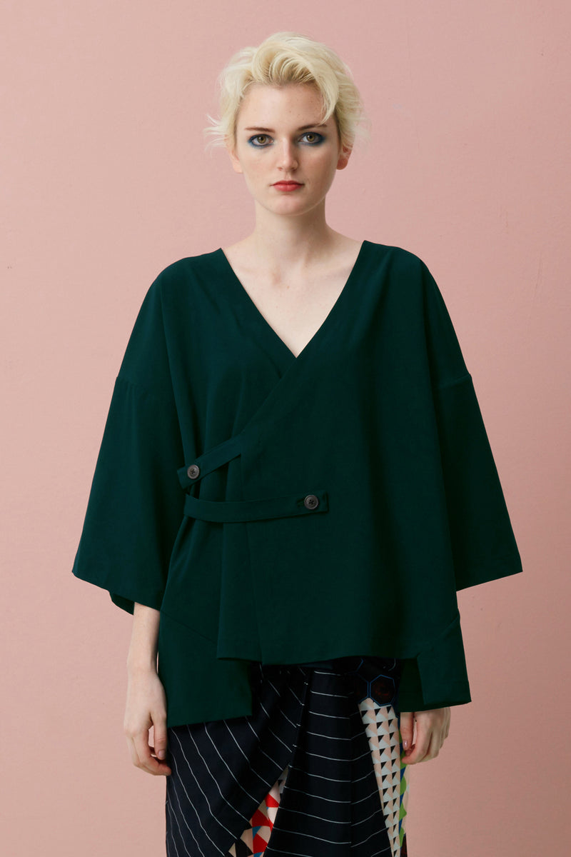 Layered Kimono Wrap Top (Forest Green)
